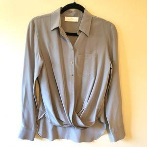Amanda Uprichard Grey Silk Twist Front Blouse—S